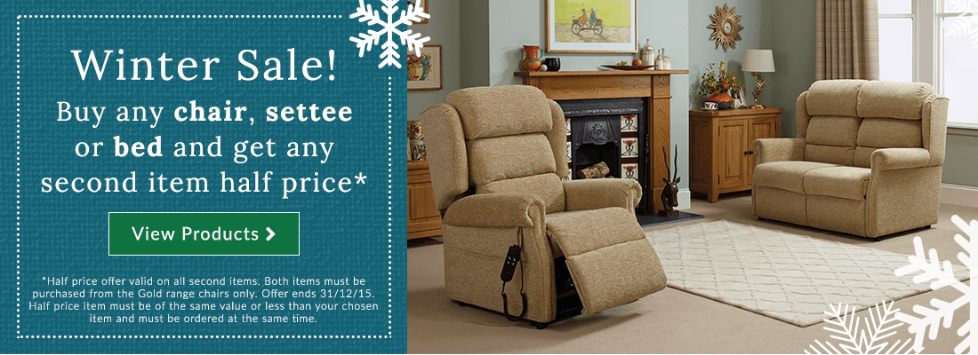 Buy any chair, settee or bed and get any second item half price*