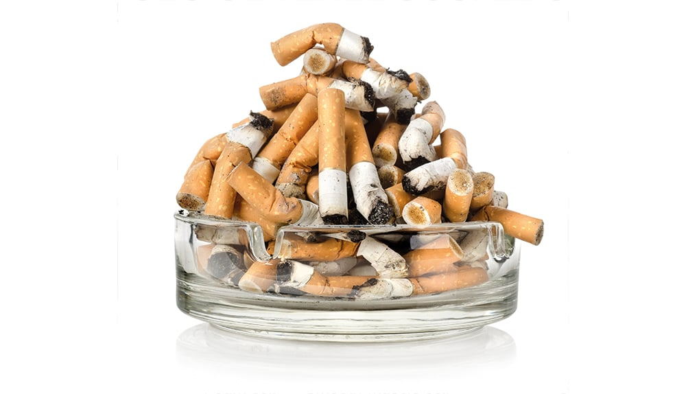 Pile of cigarette butts.