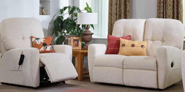 Oak Tree Rise and Recline chair and sofa in cream.