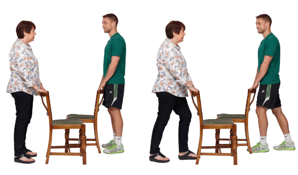 Calf stretch for the elderly.
