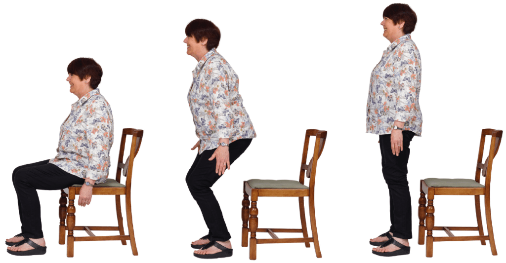 Sit to stand exercise for the elderly.