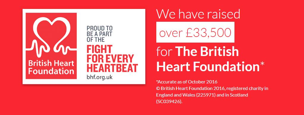 We have raised over £33,500 for the British Heart Foundation