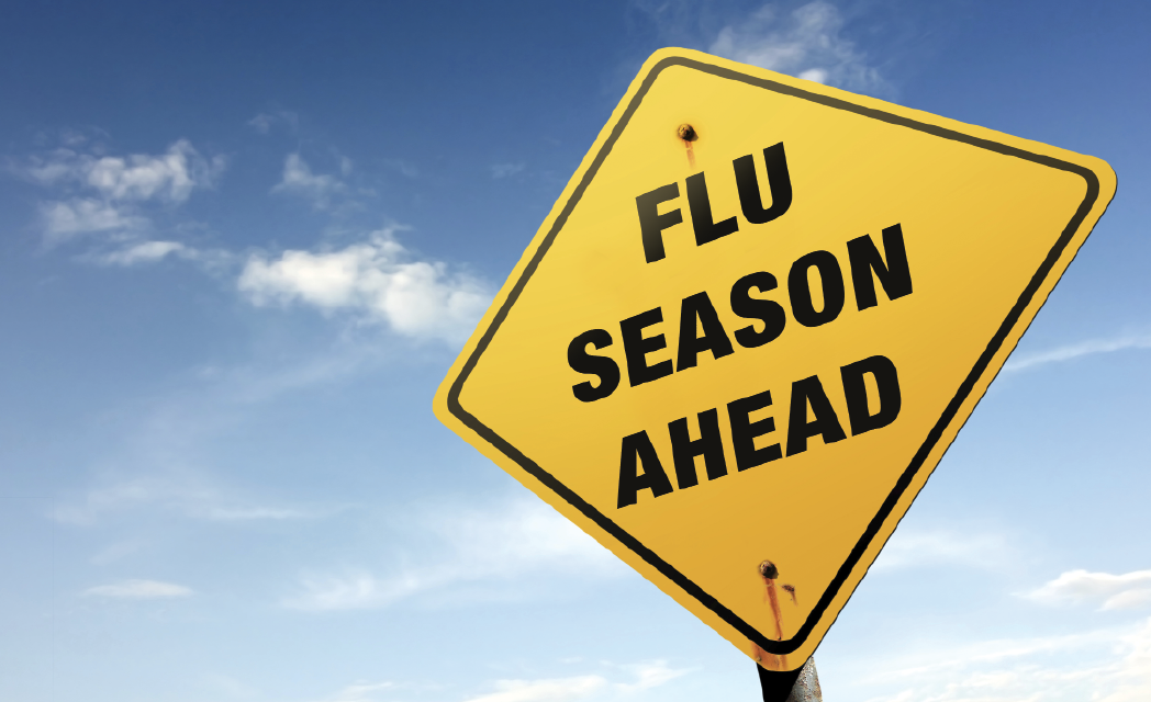 Sign reading flu season ahead.