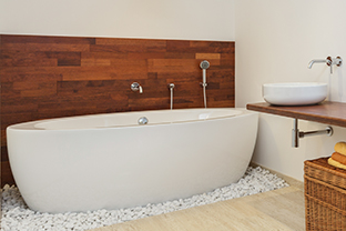 Interior of bathroom in african style - panorama