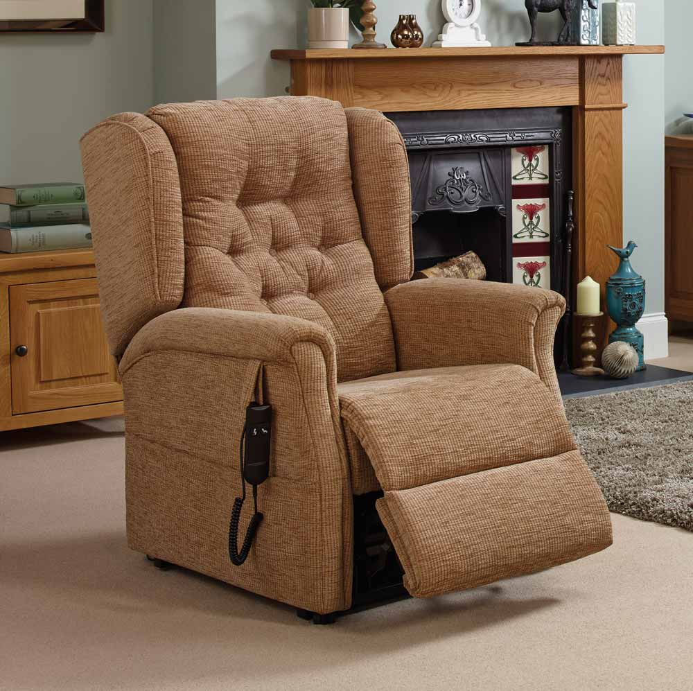 Button back rise and recline chair by Oak Tree Mobility