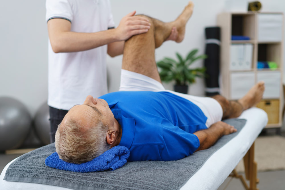 Man receiving a beneficial massage