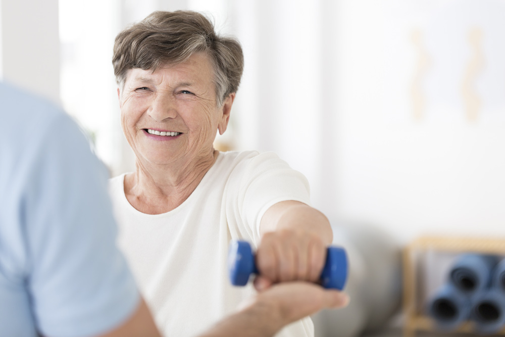 Elderly woman doing exercise to relieve stress