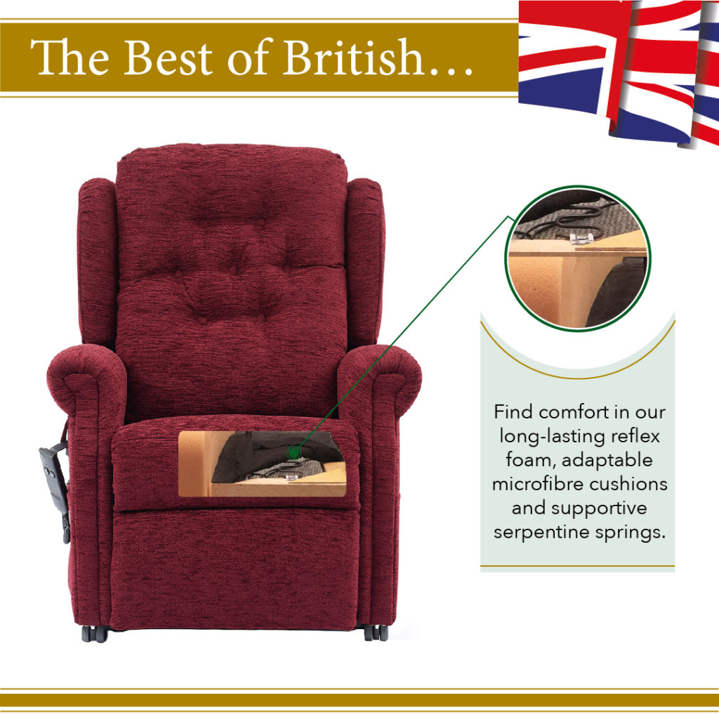 Only the best reflex foam, memory foam, microfibre cushions and Serpentine springs used in Oak tree rise and recline chairs.