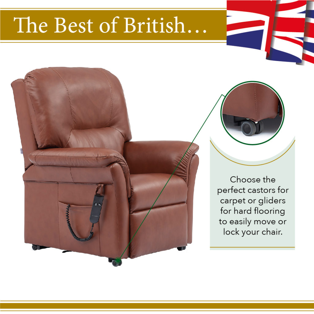 Choose castors or gliders for your oak tree rise and recline chair